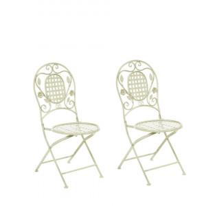 Set de 2 scaune de gradina Bivio, metal, verde deschis, 43 x 52 x 93 cm