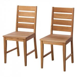 Set de 2 scaune din lemn masiv TanamiWOOD I, stejar