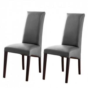 Set de 2 scaune Foxa din piele sintetica gri