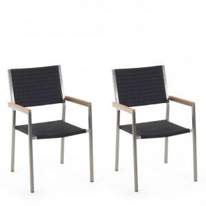 Set de 2 scaune GROSSETO de gradina din ratan, negru