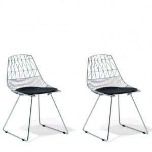 Set de 2 scaune Harlan, argintiu, 57 x 54 x 77 cm