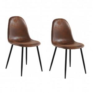 Set de 2 scaune Miller, tesatura/metal/decor stejar, maro antichizat, 44x52x87 cm