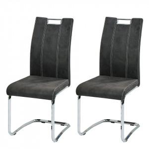 Set de 2 scaune Robin din piele sintetica, antracit