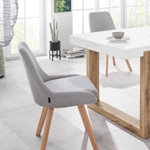 Set de 2 scaune Rudi, tesatura/lemn masiv de stejar, gri deschis/maro, 50 x 58 x 82 cm
