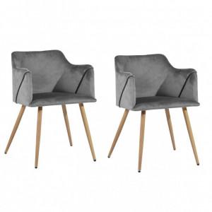 Set de 2 scaune Sofiya, gri, 75 x 52 x 52 cm