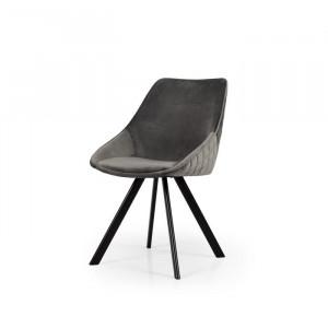 Set de 2 scaune tapitate Ritz, gri/negru, 83 x 50 x 46 cm
