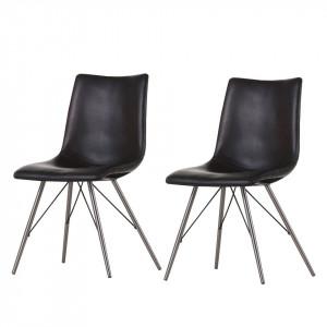 Set de 2 scaune Telford piele sintetica, negru