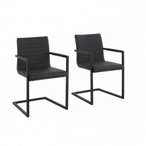 Set de 2 scaune tip fotoliu Sabine piele sintetica/metal, gri, 54 x 59 x 87 cm