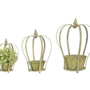 Set de 3 suporturi pentru ghivece Crown, l 39 cm