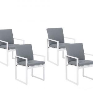 Set de 4 scaune de gradina Pancole, gri/alb, 54 x 51 x 59 cm