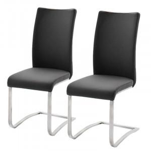 Set de 4 scaune din piele sintetica Marco, negru