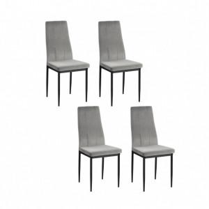 Set de 4 scaune Kelly - piele sintetica/metal, gri