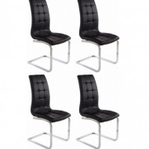Set de 4 scaune LOLA din piele sintetica/metal, negru/argintiu, 52 x 54 x 101 cm