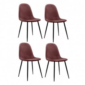 Set de 4 scaune Monza Eadwine, roz inchis, 160 x 90 x 76cm