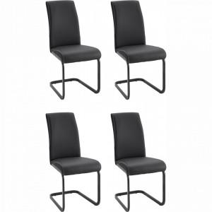 Set de 4 scaune Otto, piele/ metal, negru, 59 x 43 x 96 cm