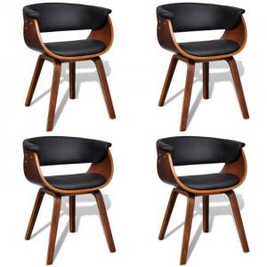 Set de 4 scaune, tapitate, maro/negru, 72 x 59,5 x 51 cm