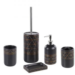 Set de 5 accesorii pentru baie Lanco, auriu/negru