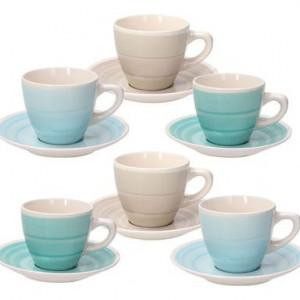 Set de 6 căni de ceai cu farfurie Almeida