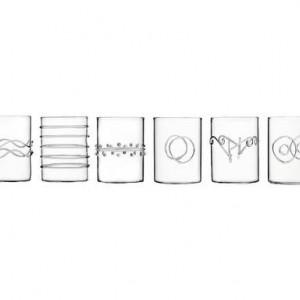 Set de 6 pahare transparente de lichior Deco