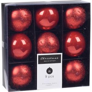 Set de 9 globuri Karll rosii, 6 cm