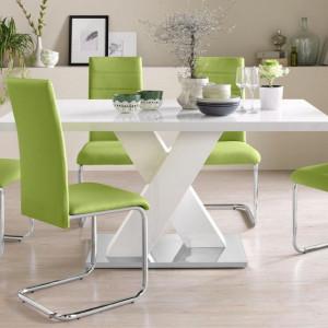 Set de living Ali Adora - 5 piese: 4 scaune si o masa, piele sintetica verde