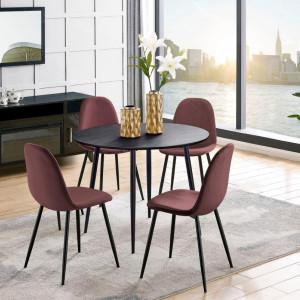 Set de living Monza Eadwine 5 piese ( 4 scaune si o masa rotunda), roz prafuit/negru