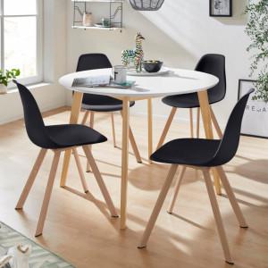 Set de living Veneto / Cody masa + 4 scaune, MDF/tesatura, negru, diamentru 105 cm