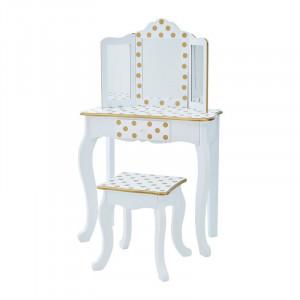 Set de masă de toaletă Achenbach cu oglindă, MDF, alb / auriu, 97,8cm H x 29,2cm W x 59,7cm D