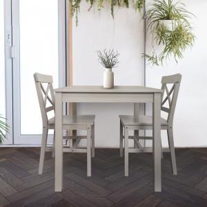 Set de masa si 2 scaune Lars, lemn masiv de pin, gri, 75 x 75 x 73 cm