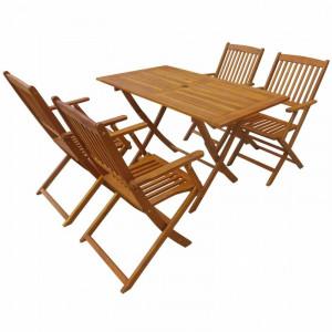 Set de o masa si 4 scaune de gradina Forth, lemn masiv, maro