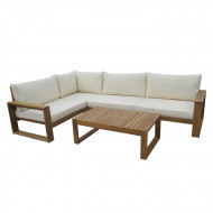 Set lounge Hauer, maro/alb, lemn masiv
