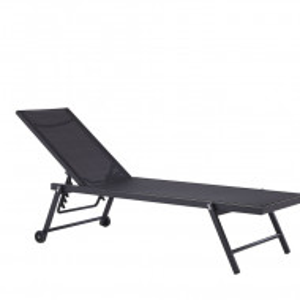 Sezlong reclinabil Portofino, negru, 198 x 65 x 107 cm