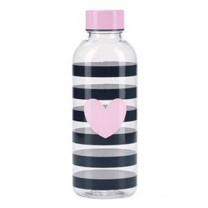 Sticlă de apă Me Strip cu inimă roz