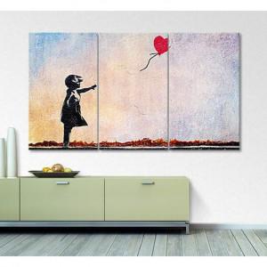 Tablou 'Banksy No. 14' cu 3 piese, 100cm H x 180cm W x 2cm D