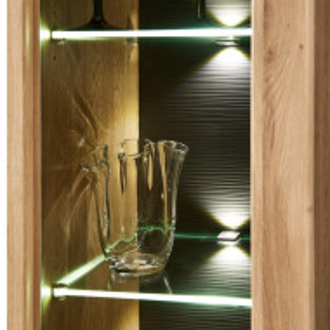 Vitrina Macoun cu sistem de lumini, stejar/MDF, maro, 80 x 199 x 37 cm