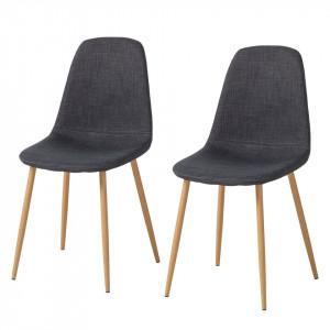 Set 2 scaune Iskmo II, tesatura, gri antracit