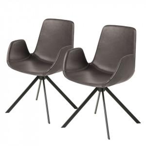 Set de 2 scaune Yasmin, imitatie piele/otel, maro inchis/negru