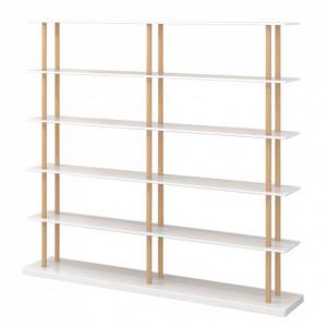 Biblioteca Lindholm IV,  alb mat / stejar, 160x168 cm
