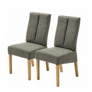 Set de 2 scaune Alder II tesatura / stejar - verde oliv
