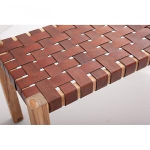 Banca Clarksburg, lemn masiv/ piele, 45 x 40 x 120 cm