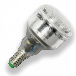 Bec lumina fluorescenta compacta Megaman R50 9W, lumina calda, E14, argintiu