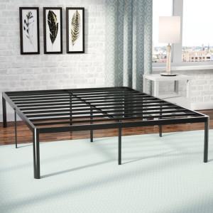 Cadru de pat din lemn, negru, 200 x 180 cm