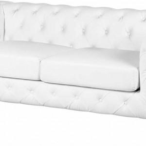 Canapea CHESTERFIELD cu 3 locuri, piele naturala alba