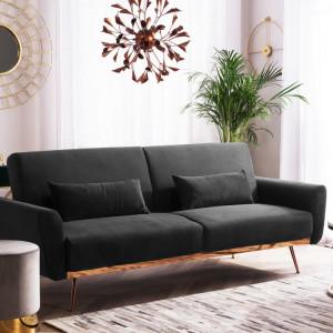 Canapea extensibilă Eina, catifea, negru, 210 x 86 cm