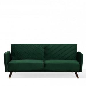 Canapea extensibilă SENJA, catifea, verde, 87 x 200 x 95 cm