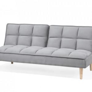 Canapea extensibila Siljan, lemn masiv, gri deschis, 177 x 80 x 80 cm