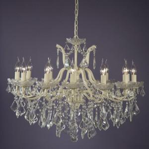 Candelabru din cristal cu 12 lumini în stil lumânare, crem, 60cm H x 84cm W x 84cm D