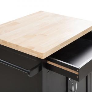 Cărucior de bucătărie SIENA, MDF, negru, 91 x 60 x 48 cm