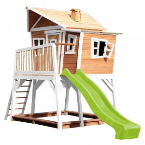 Casa de joaca pentru copii Georgina, lemn masiv, maro/alb/verde, 288 x 193 x 432 cm