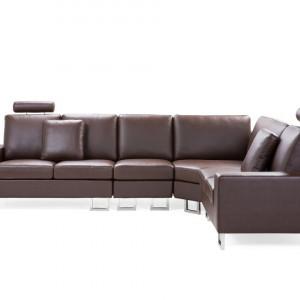 Coltar Stockholm, piele, maro, 103 x 290 x 235 cm